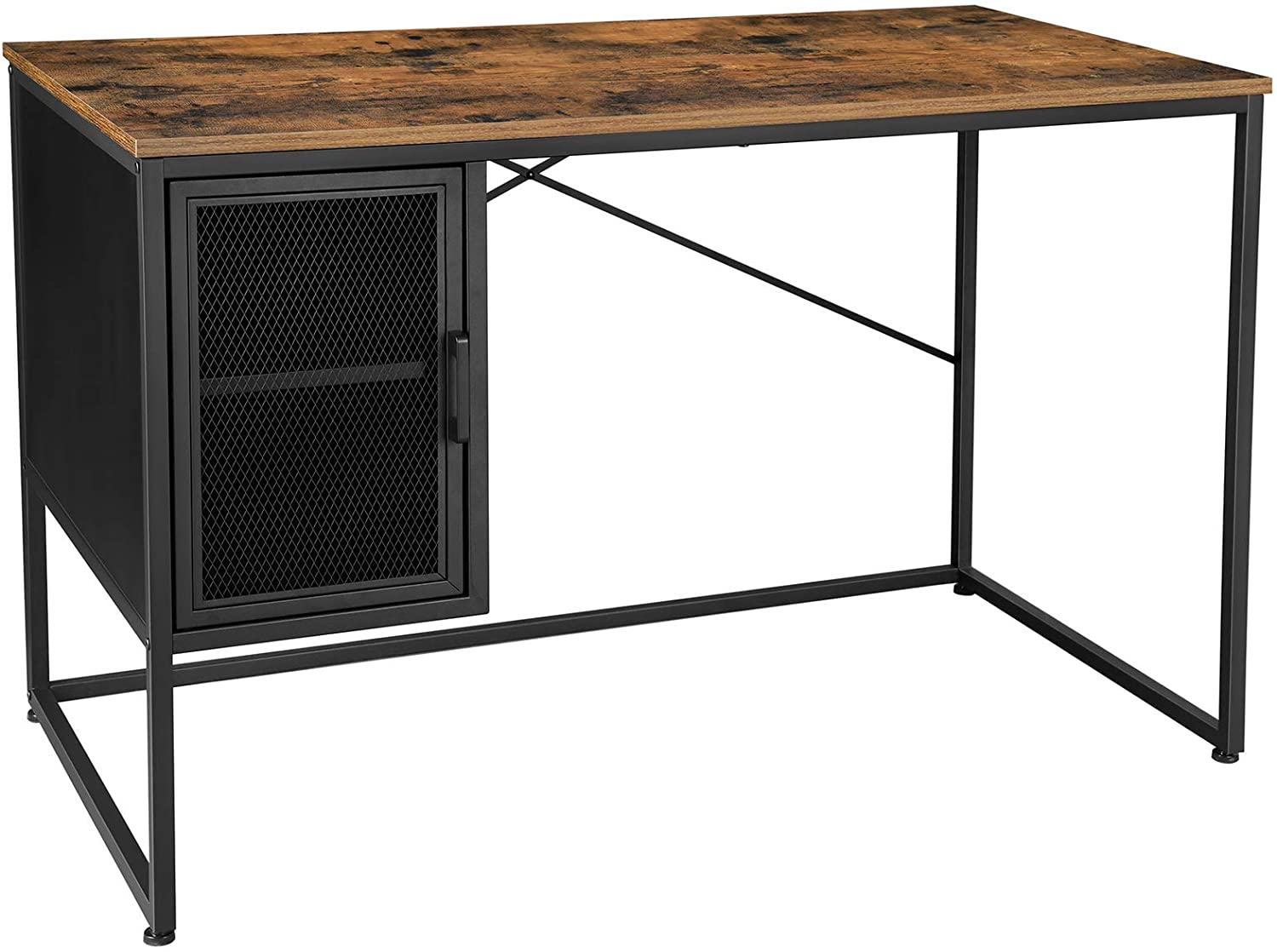 Home Office Desk with Mesh Door Cabinet