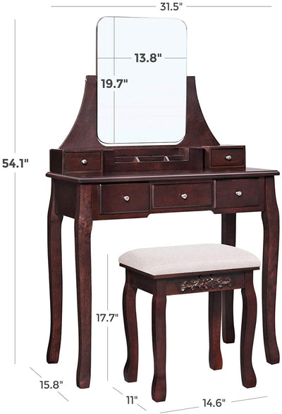 Enjoy fast, free nationwide shipping!  Family owned and operated, HawkinsWoodshop.com is your one stop shop for affordable furniture.  Shop HawkinsWoodshop.com for solid wood & metal modern, traditional, contemporary, industrial, custom, rustic, and farmhouse furniture including our Espresso Frameless Mirror Vanity Set with Cushioned Stool.
