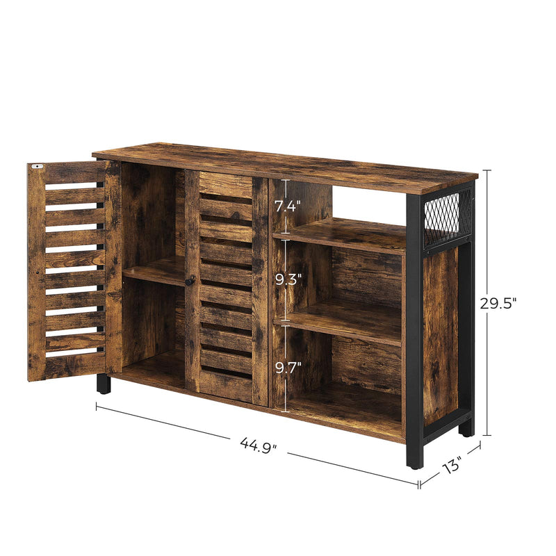 Enjoy fast, free nationwide shipping!  Owned by a husband and wife team of high-school music teachers, HawkinsWoodshop.com is your one stop shop for affordable furniture.  Shop HawkinsWoodshop.com for solid wood & metal modern, traditional, contemporary, industrial, custom, rustic, and farmhouse furniture including our Rustic Brown & Black Kitchen Cabinet w/ Adjustable Shelves.