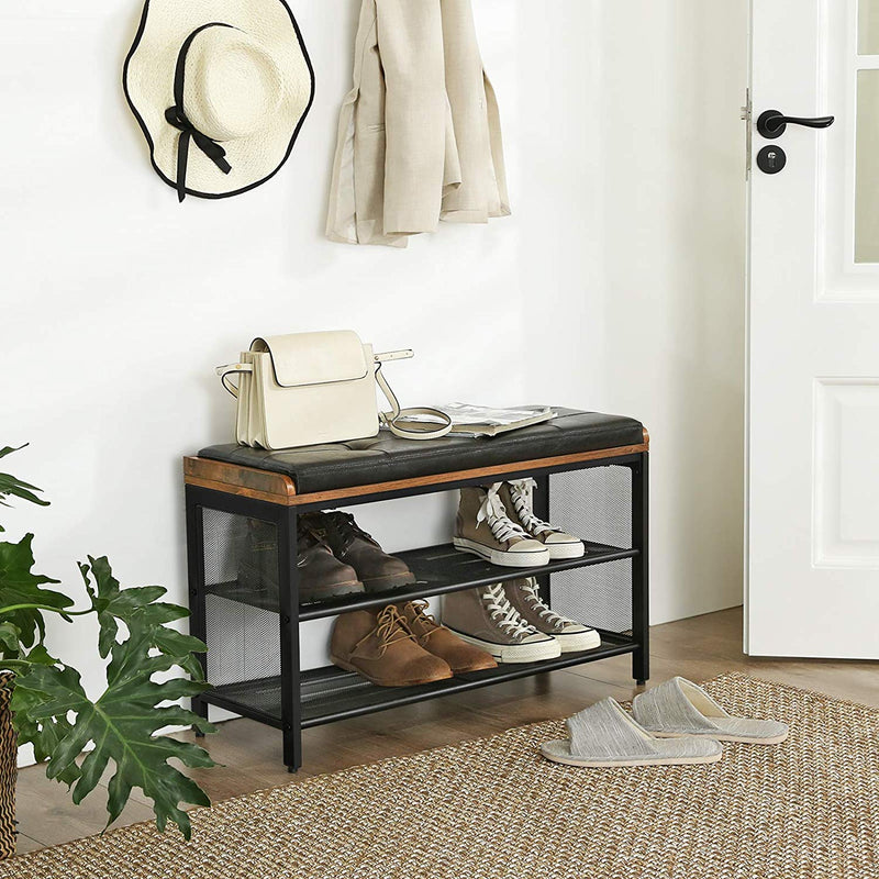 Enjoy fast, free nationwide shipping!  Owned by a husband and wife team of high-school music teachers, HawkinsWoodshop.com is your one stop shop for affordable furniture.  Shop HawkinsWoodshop.com for solid wood & metal modern, traditional, contemporary, industrial, custom, rustic, and farmhouse furniture including our Industrial Padded Shoe Entryway Bench w/ Metal Shelving.