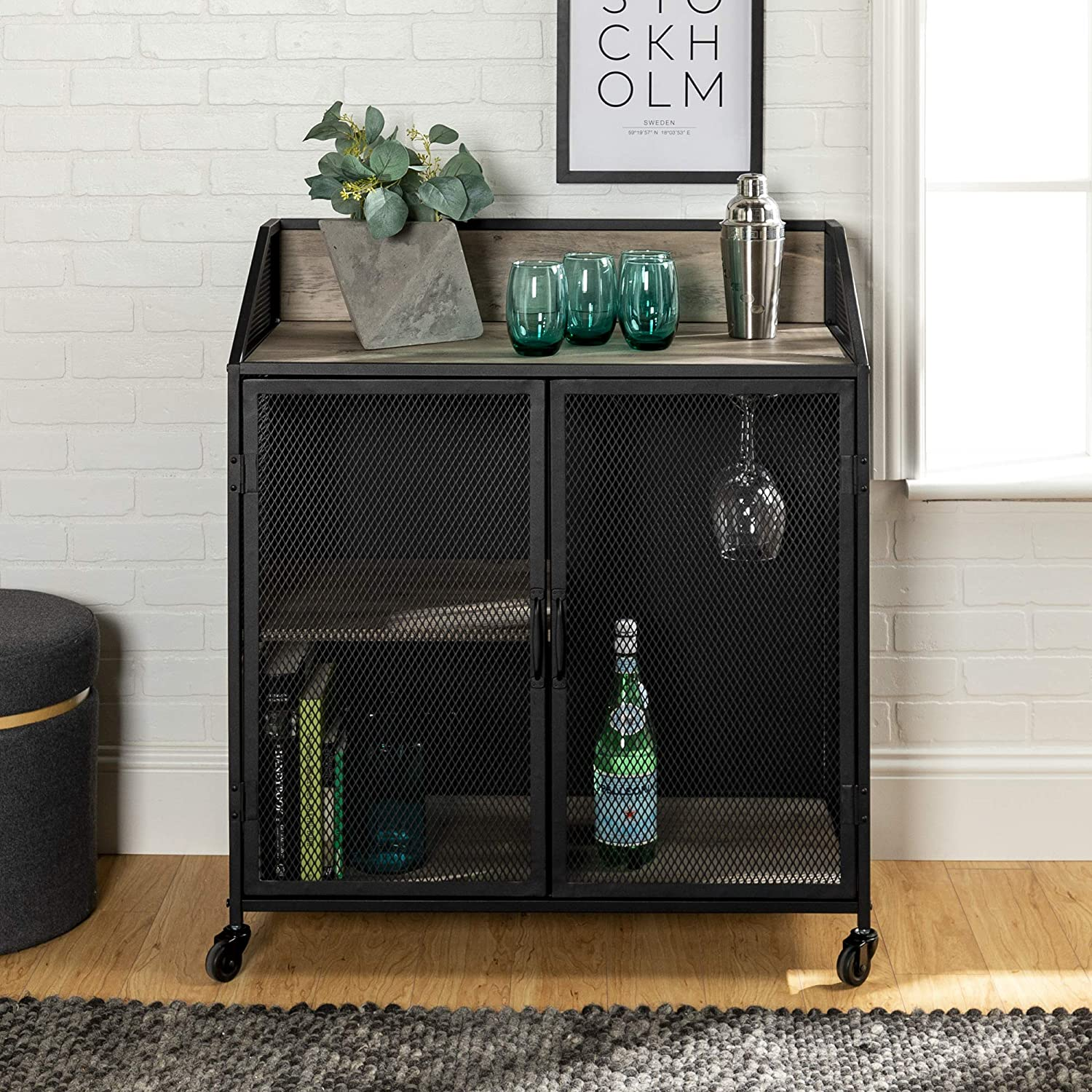 Enjoy fast, free nationwide shipping!  Family owned and operated, HawkinsWoodshop.com is your one stop shop for affordable furniture.  Shop HawkinsWoodshop.com for solid wood & metal modern, traditional, contemporary, industrial, custom, rustic, and farmhouse furniture including our Elora Industrial Farmhouse Metal & Grey-Wash-Wood Bar Cabinet.