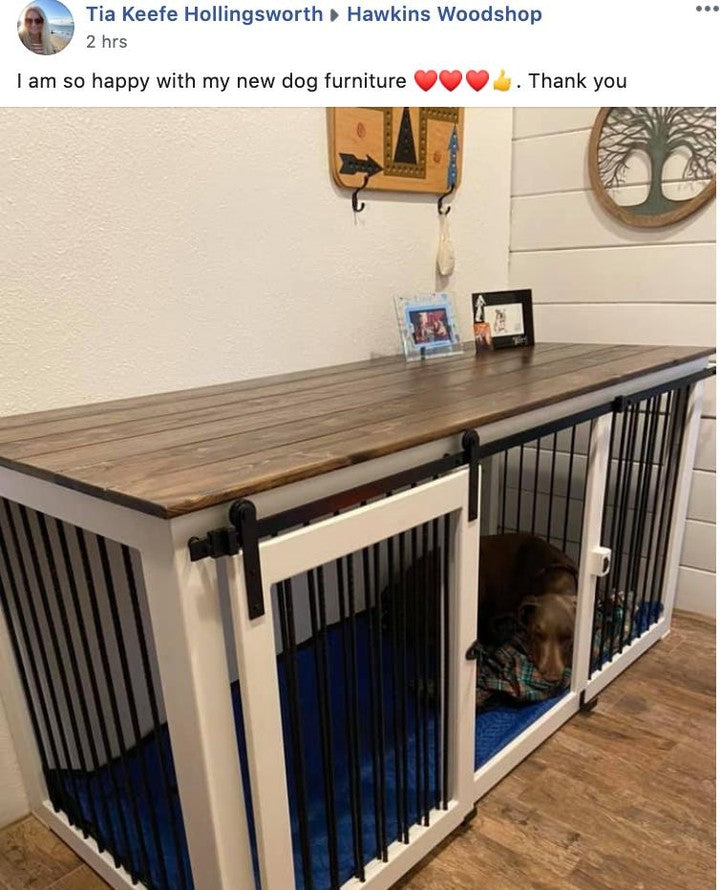 Wood Dog Crate Furniture Custom Single Kennel Dog Bed Handmade Large Dog Kennel Farmhouse Style Dog House with Shiplap Indoor Crate
