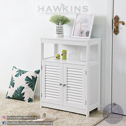 Shop hawkinswoodshop.com for discounted solid wood & metal modern, traditional, contemporary, custom & farmhouse furniture including our Wooden Bathroom Floor Cabinet Storage Organizer Rack Cupboard Free Standing with Double Shutter Door. Ask about our free nationwide freight delivery and low cost assembly services.