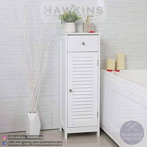 Enjoy fast, free nationwide shipping!  Family owned and operated, HawkinsWoodshop.com is your one stop shop for affordable furniture.  Shop HawkinsWoodshop.com for solid wood & metal modern, traditional, contemporary, industrial, custom, rustic, and farmhouse furniture including our Wooden Bathroom Floor Cabinet Storage Organizer Set Free Standing Corner Unit with 1 drawer and 1 Cupboard Shutter Door.