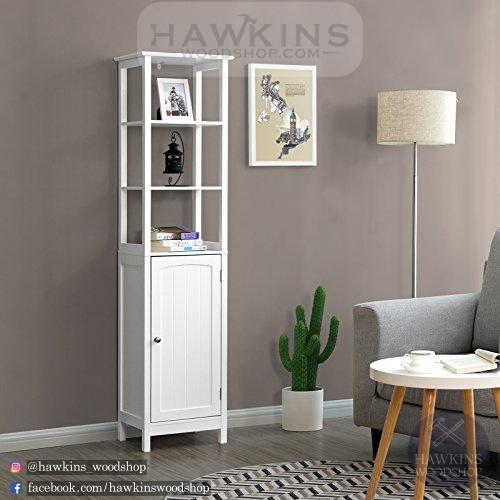 Free Standing Tall Cabinet, Multifunctional Bathroom Cabinet with 3 Tier Storage Shelf, Country Style Wooden Floor Cabinet - Hawkins Woodshop
