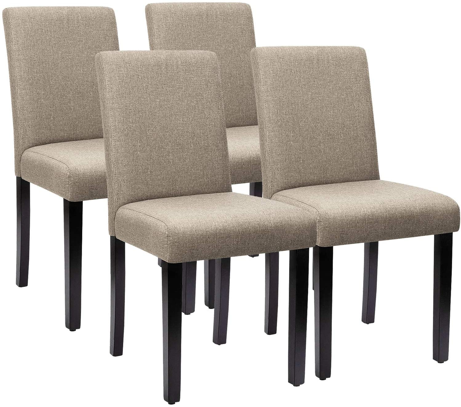 Beige Side Padded Chair w/ Solid Wood Legs Set of 4