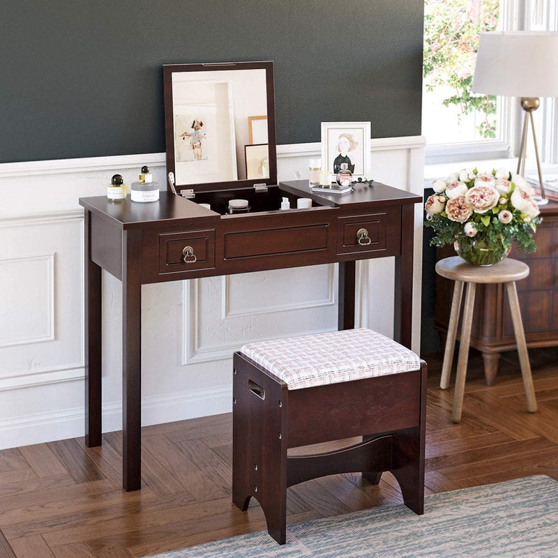 Enjoy fast, free nationwide shipping!  Owned by a husband and wife team of high-school music teachers, HawkinsWoodshop.com is your one stop shop for affordable furniture.  Shop HawkinsWoodshop.com for solid wood & metal modern, traditional, contemporary, industrial, custom, rustic, and farmhouse furniture including our Brown Makeup Vanity Set w/ Flip Top Mirror.