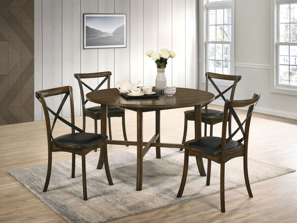 Marcan Hardwood 5-Piece Round Dining Table Room Set