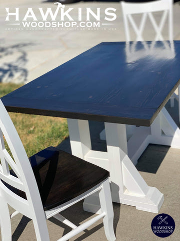 "Shop hawkinswoodshop.com for discounted solid wood & metal modern, traditional, contemporary, custom & farmhouse furniture including our Custom Modern H Farmhouse Dining Table Choose Own Length x 38"" W x 30"" H. Ask about our free nationwide freight delivery and low cost assembly services."