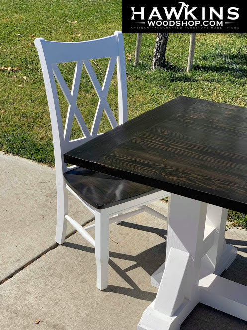 "Shop hawkinswoodshop.com for discounted solid wood & metal modern, traditional, contemporary, custom & farmhouse furniture including our Custom Modern H Farmhouse Dining Table Choose Own Length x 38"" W x 30"" H. Ask about our free nationwide freight delivery or assembly services today."
