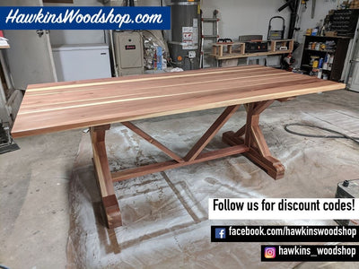 Enjoy fast, free nationwide shipping!  Owned by a husband and wife team of high-school music teachers, HawkinsWoodshop.com is your one stop shop for affordable furniture.  Shop HawkinsWoodshop.com for solid wood & metal modern, traditional, contemporary, industrial, custom, rustic, and farmhouse furniture including our Custom Fancy X Rustic Farmhouse Dining Table.