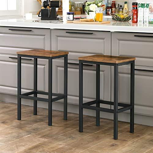 Bar Stools, Set of 2 Bar Chairs, Kitchen Breakfast Bar Stools with Footrest, Industrial, in Living Room, Party Room, Rustic Brown LBC65X - Hawkins Woodshop