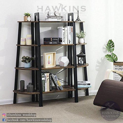 Shop hawkinswoodshop.com for discounted solid wood & metal modern, traditional, contemporary, custom & farmhouse furniture including our Corner Shelf 4-Tier Industrial Storage Shelf Ladder Bookcase.  Ask about our free delivery & assembly collections today!