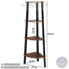 Shop hawkinswoodshop.com for solid wood & metal modern, traditional, contemporary, industrial, custom, rustic, and farmhouse furniture including our Corner Shelf 4-Tier Industrial Storage Shelf Ladder Bookcase.  Ask about our free nationwide delivery service.