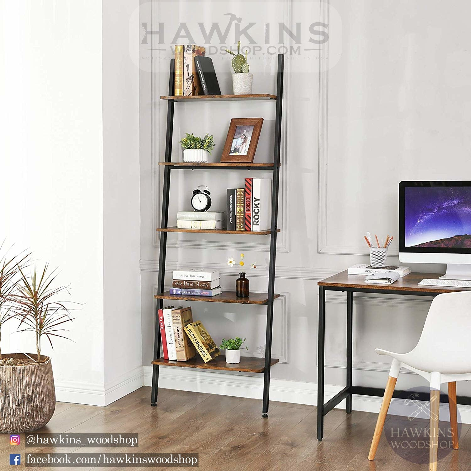 Enjoy fast, free nationwide shipping!  Family owned and operated, HawkinsWoodshop.com is your one stop shop for affordable furniture.  Shop HawkinsWoodshop.com for solid wood & metal modern, traditional, contemporary, industrial, custom, rustic, and farmhouse furniture including our Industrial Ladder Shelf 5-Tier Bookshelf Rack, Wall Shelf for Living Room Kitchen Office Solid Iron.