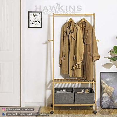 Enjoy fast, free nationwide shipping!  Family owned and operated, HawkinsWoodshop.com is your one stop shop for affordable furniture.  Shop HawkinsWoodshop.com for solid wood & metal modern, traditional, contemporary, industrial, custom, rustic, and farmhouse furniture including our Rolling Coat Rack Bamboo Garment Rack Coat Clothes Hanging Rail 2 Tiers 4 Hooks for Shoe and Hat Rack.
