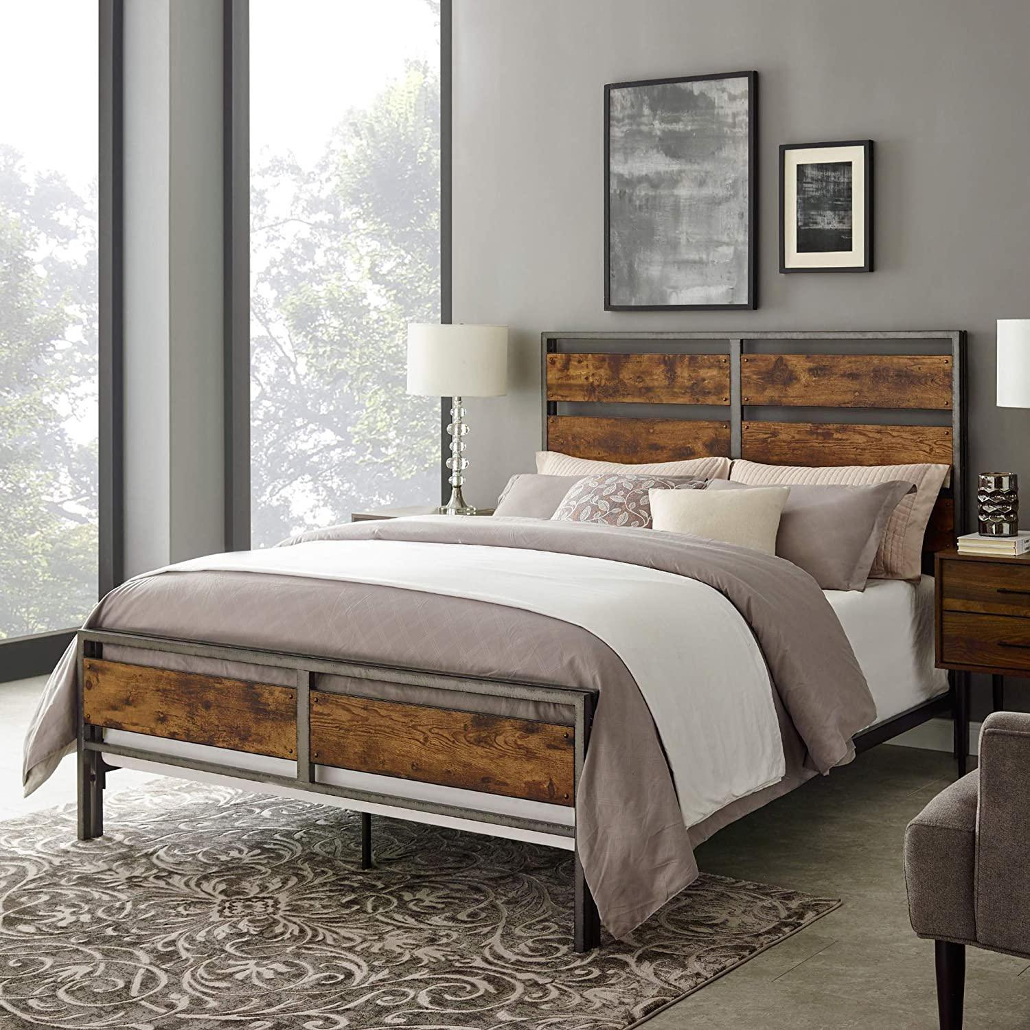 Enjoy fast, free nationwide shipping!  Owned by a husband and wife team of high-school music teachers, HawkinsWoodshop.com is your one stop shop for affordable furniture.  Shop HawkinsWoodshop.com for solid wood & metal modern, traditional, contemporary, industrial, custom, rustic, and farmhouse furniture including our Reclaimed Wood Queen Size Bed Frame.