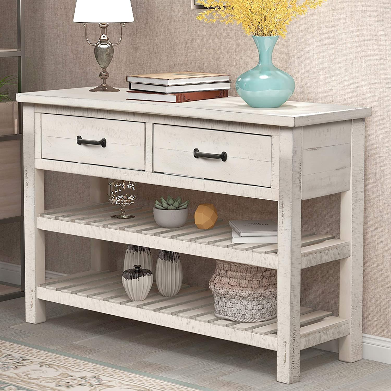 Enjoy fast, free nationwide shipping!  Owned by a husband and wife team of high-school music teachers, HawkinsWoodshop.com is your one stop shop for affordable furniture.  Shop HawkinsWoodshop.com for solid wood & metal modern, traditional, contemporary, industrial, custom, rustic, and farmhouse furniture including our Tiffany Blue Console Table w/ Drawers.