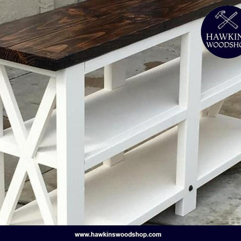 Shop hawkinswoodshop.com for solid wood & metal modern, traditional, contemporary, industrial, custom, rustic, and farmhouse furniture including our Custom Built-to-Order Rustic X Console Table.  Ask about our free nationwide delivery service.