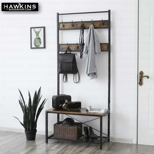 Shop hawkinswoodshop.com for solid wood & metal modern, traditional, contemporary, industrial, custom, rustic, and farmhouse furniture including our Industrial Hall Tree Coat Rack.  Enjoy free nationwide shipping, help with the fight against hunger in the US, and support a family owned and operated business that helps puts food on the table for folks in rural Northern California.