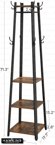 Shop hawkinswoodshop.com for solid wood & metal modern, traditional, contemporary, industrial, custom, rustic, and farmhouse furniture including our Ryan Coat Rack Hall Tree w/ 3 Shelves.  Ask about our free nationwide delivery service.
