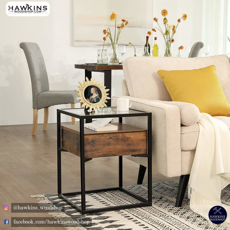 Shop hawkinswoodshop.com for discounted solid wood & metal modern, traditional, contemporary, custom & farmhouse furniture including our Glass Industrial Side Table Free Shipping.  Ask about our free delivery & assembly collections today!