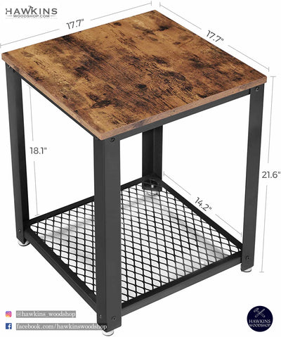Enjoy fast, free nationwide shipping!  Owned by a husband and wife team of high-school music teachers, HawkinsWoodshop.com is your one stop shop for affordable furniture.  Shop HawkinsWoodshop.com for solid wood & metal modern, traditional, contemporary, industrial, custom, rustic, and farmhouse furniture including our Ryan Industrial End Table Nightstand.