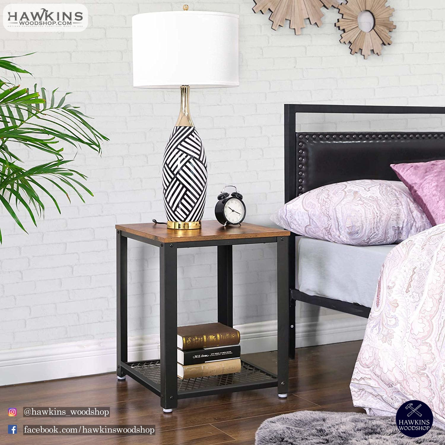 Shop hawkinswoodshop.com for discounted solid wood & metal modern, traditional, contemporary, custom & farmhouse furniture including our Ryan Industrial End Table Nightstand. Ask about our free nationwide freight delivery or assembly services today.