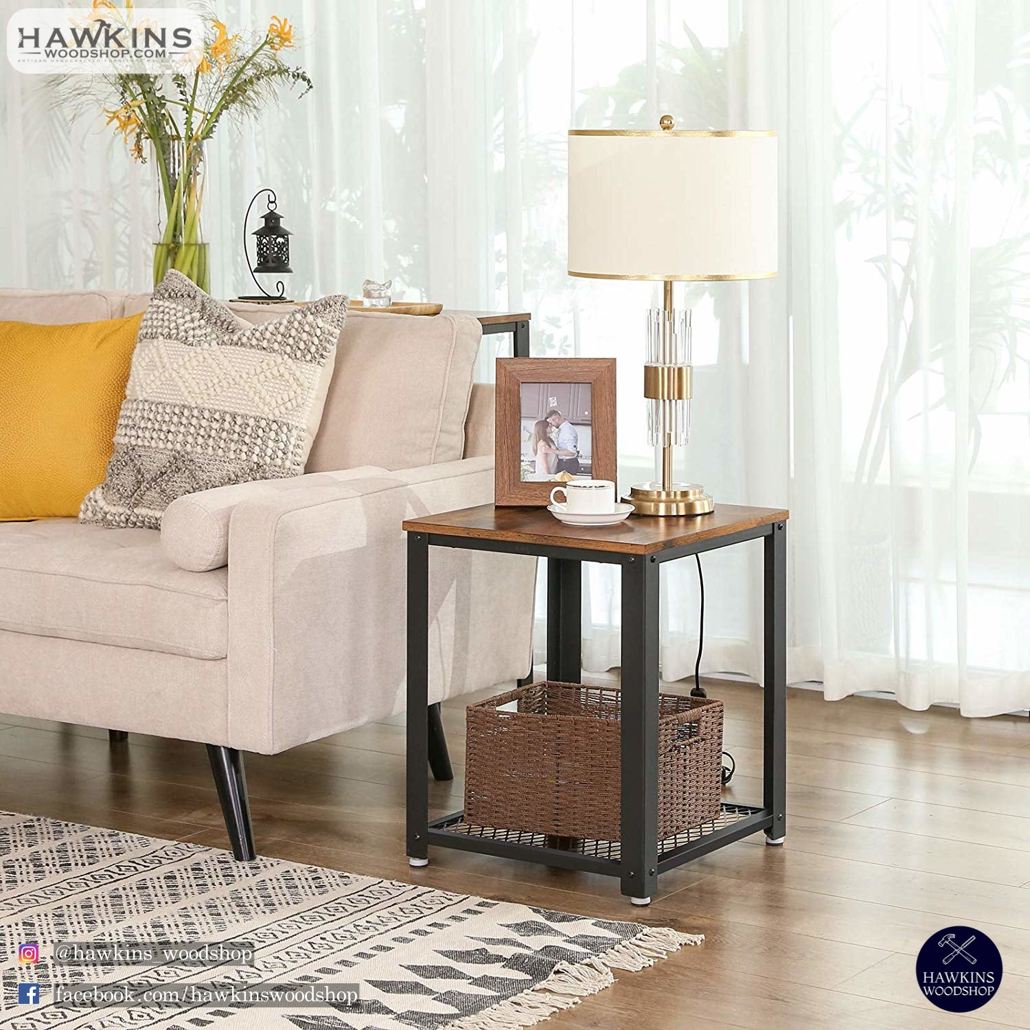 Shop hawkinswoodshop.com for solid wood & metal modern, traditional, contemporary, industrial, custom, rustic, and farmhouse furniture including our Ryan Industrial End Table Nightstand.  Enjoy free nationwide shipping, help with the fight against hunger in the US, and support a family owned and operated business that helps puts food on the table for folks in rural Northern California.
