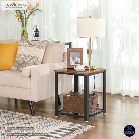 Shop hawkinswoodshop.com for solid wood & metal modern, traditional, contemporary, industrial, custom, rustic, and farmhouse furniture including our Ryan Industrial End Table Nightstand.  Ask about our free nationwide delivery service.
