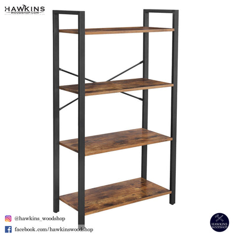 Shop hawkinswoodshop.com for solid wood & metal modern, traditional, contemporary, industrial, custom, rustic, and farmhouse furniture including our Industrial 4-Tier Bookshelf.  Ask about our free nationwide delivery service.