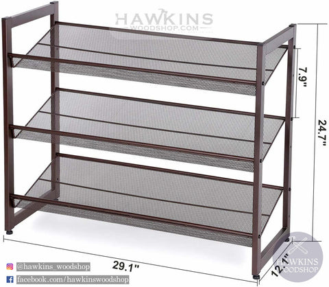 Shop hawkinswoodshop.com for solid wood & metal modern, traditional, contemporary, industrial, custom, rustic, and farmhouse furniture including our 3-Tier Stackable Metal Shoe Organizer.  Ask about our free nationwide delivery service.