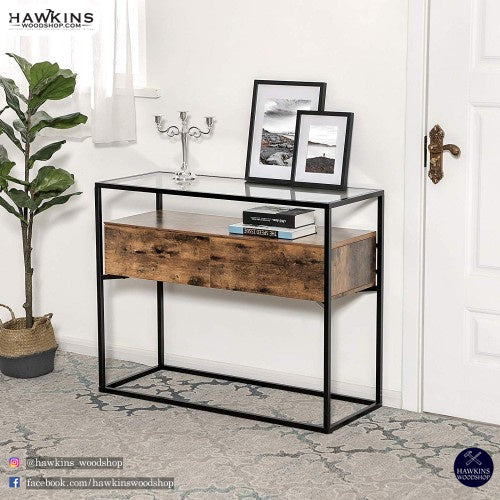 Shop hawkinswoodshop.com for solid wood & metal modern, traditional, contemporary, industrial, custom, rustic, and farmhouse furniture including our Glass Industrial Console Table Free Shipping.  Enjoy free nationwide shipping, help with the fight against hunger in the US, and support a family owned and operated business that helps puts food on the table for folks in rural Northern California.