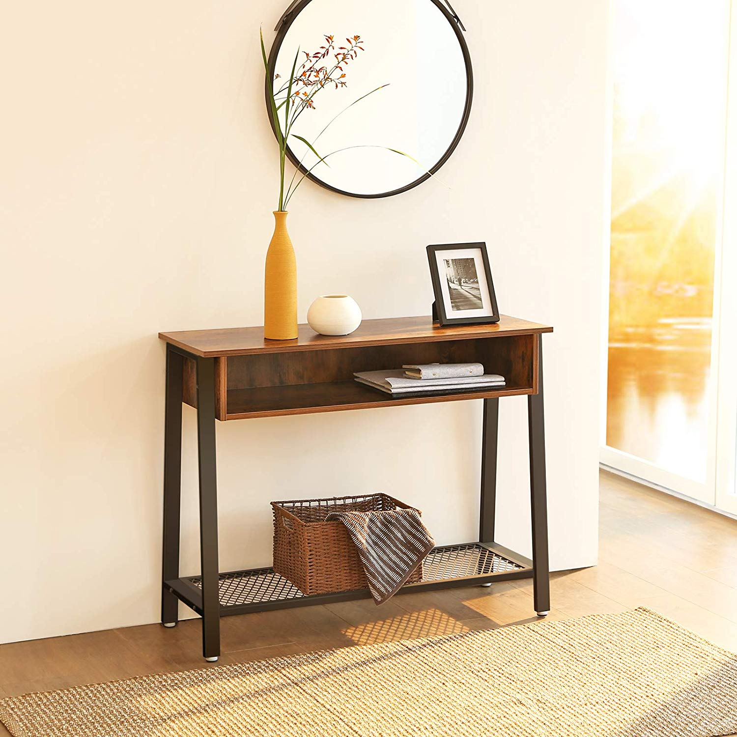 Enjoy fast, free nationwide shipping!  Owned by a husband and wife team of high-school music teachers, HawkinsWoodshop.com is your one stop shop for affordable furniture.  Shop HawkinsWoodshop.com for solid wood & metal modern, traditional, contemporary, industrial, custom, rustic, and farmhouse furniture including our Industrial Vintage Sofa Console Table.