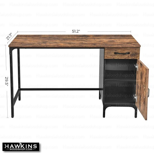 Enjoy fast, free nationwide shipping!  Family owned and operated, HawkinsWoodshop.com is your one stop shop for affordable furniture.  Shop HawkinsWoodshop.com for solid wood & metal modern, traditional, contemporary, industrial, custom, rustic, and farmhouse furniture including our Ryan Side-Cabinet Computer Desk.