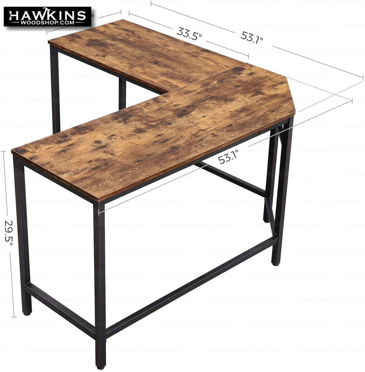 Enjoy fast, free nationwide shipping!  Owned by a husband and wife team of high-school music teachers, HawkinsWoodshop.com is your one stop shop for affordable furniture.  Shop HawkinsWoodshop.com for solid wood & metal modern, traditional, contemporary, industrial, custom, rustic, and farmhouse furniture including our Ryan II L-Shaped Desk w/Metal Base & Wood Top.