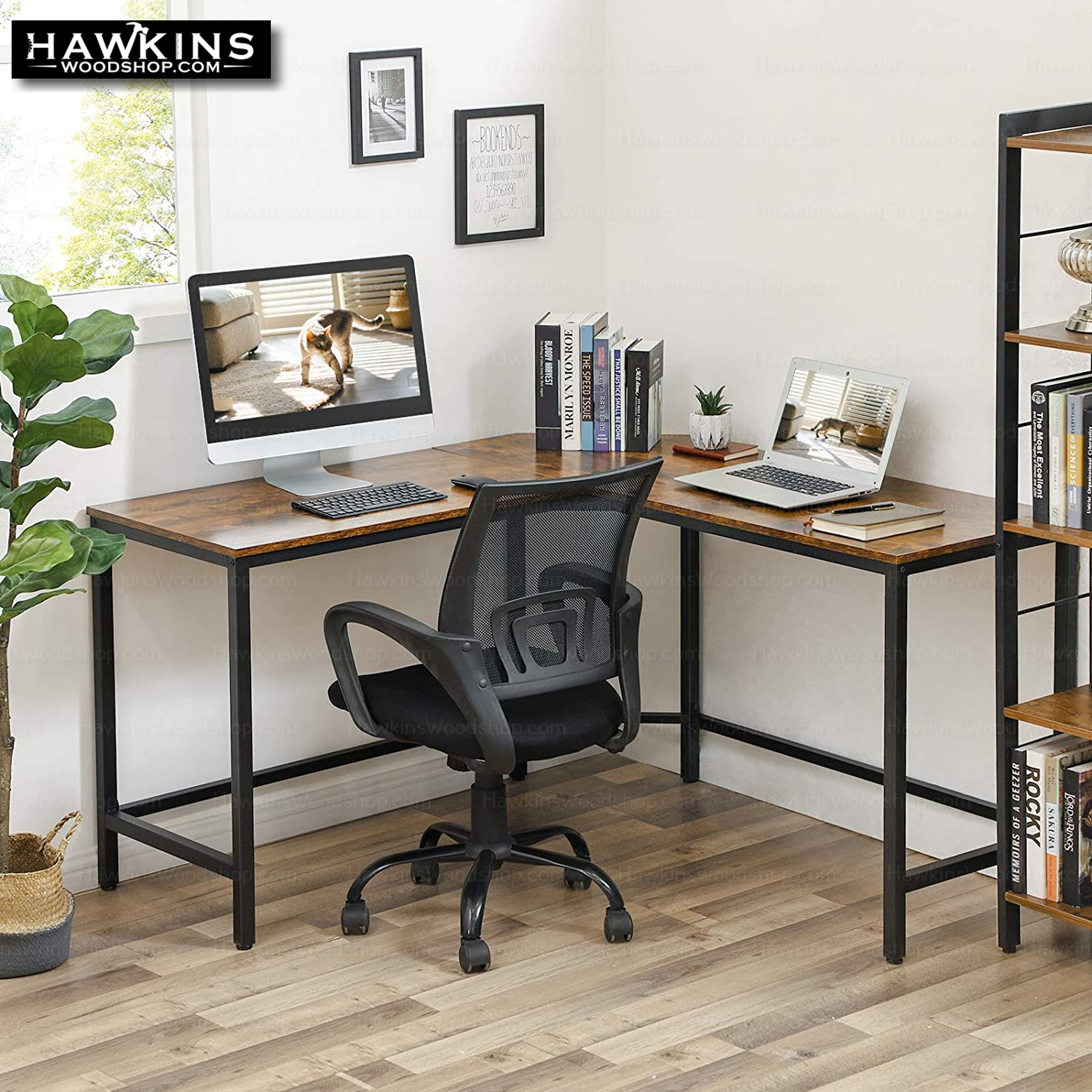 Enjoy fast, free nationwide shipping!  Family owned and operated, HawkinsWoodshop.com is your one stop shop for affordable furniture.  Shop HawkinsWoodshop.com for solid wood & metal modern, traditional, contemporary, industrial, custom, rustic, and farmhouse furniture including our Ryan II L-Shaped Desk w/Metal Base & Wood Top.