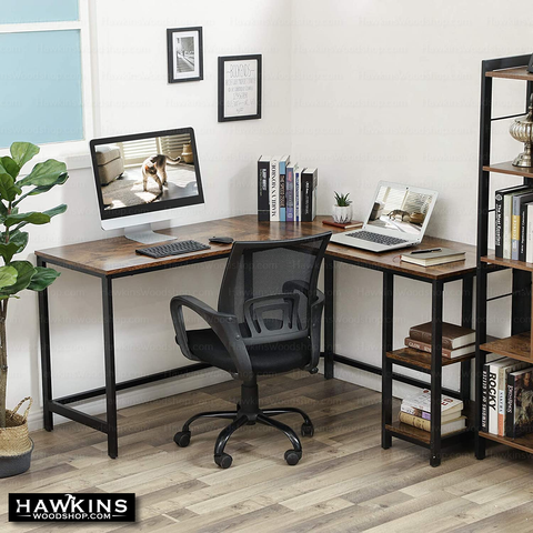 Shop hawkinswoodshop.com for discounted solid wood & metal modern, traditional, contemporary, industrial, custom & farmhouse furniture including our Ryan L-Shaped Industrial Farmhouse Desk w/ Shelves.  Ask about our free nationwide freight delivery and low cost assembly services.