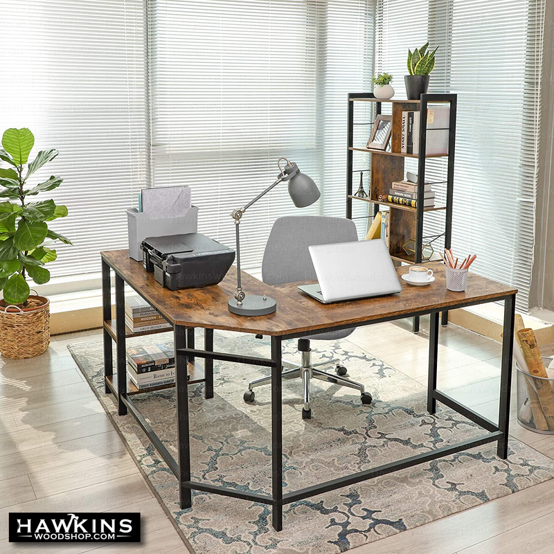 Shop hawkinswoodshop.com for solid wood & metal modern, traditional, contemporary, industrial, custom, rustic, and farmhouse furniture including our Ryan L-Shaped Industrial Farmhouse Desk w/ Shelves.  Ask about our free nationwide delivery service.