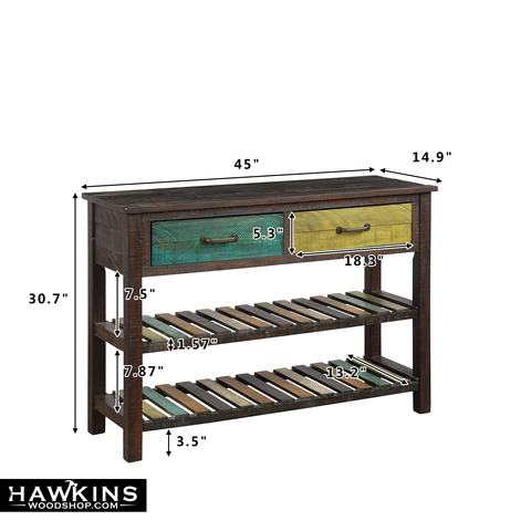 Shop hawkinswoodshop.com for discounted solid wood & metal modern, traditional, contemporary, custom & farmhouse furniture including our Harper Colorfully-Distressed Farmhouse Console Table. Ask about our free nationwide freight delivery and low cost assembly services.