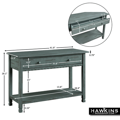 Shop hawkinswoodshop.com for discounted solid wood & metal modern, traditional, contemporary, custom & farmhouse furniture including our Distressed Antique Farmhouse Console Table Avail 3 Colors. Ask about our free nationwide freight delivery and low cost assembly services.