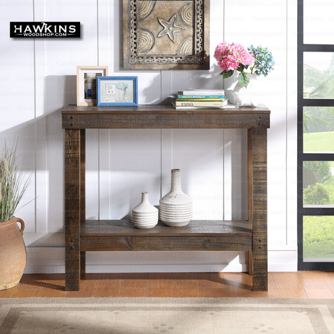 Shop hawkinswoodshop.com for discounted solid wood & metal modern, traditional, contemporary, custom & farmhouse furniture including our Rustic Brown Entryway Console Table. Ask about our free nationwide freight delivery and low cost assembly services.