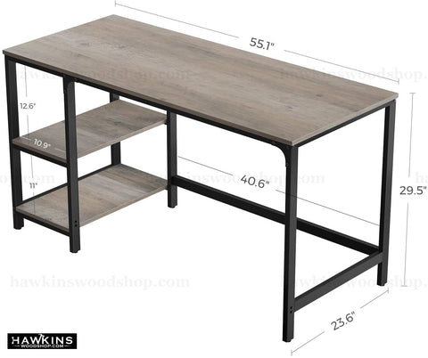 Shop hawkinswoodshop.com for discounted solid wood & metal modern, traditional, contemporary, industrial, custom & farmhouse furniture including our Ryan Greige Industrial Farmhouse Desk w/ Reversible Shelves.  Ask about our free nationwide freight delivery and low cost assembly services.