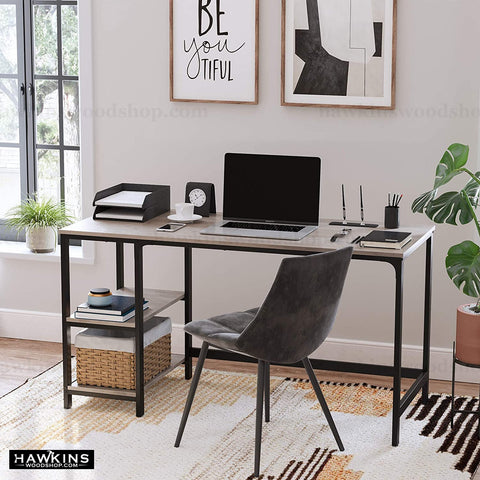 Shop hawkinswoodshop.com for solid wood & metal modern, traditional, contemporary, industrial, custom, rustic, and farmhouse furniture including our Ryan Greige Industrial Farmhouse Desk w/ Reversible Shelves.  Ask about our free nationwide delivery service.