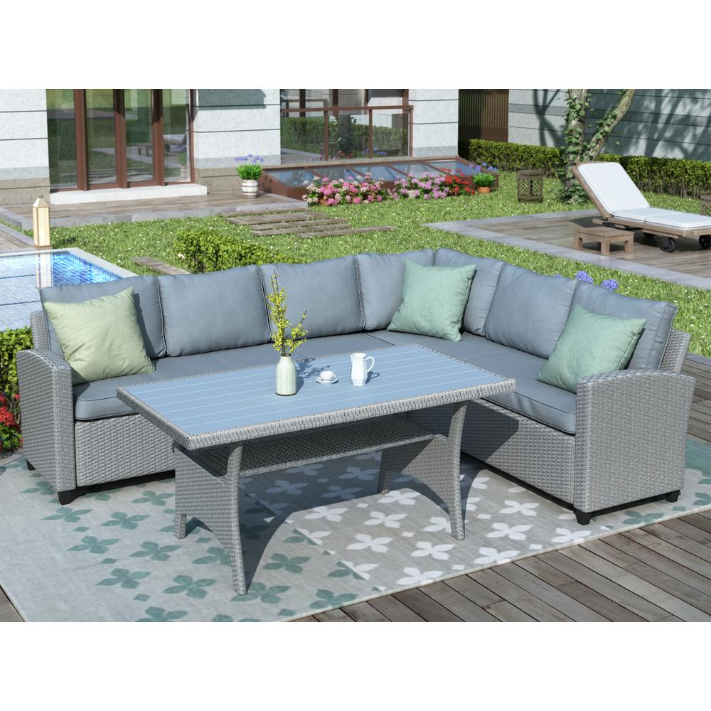 Patio Outdoor Furniture Sectional w/ Table