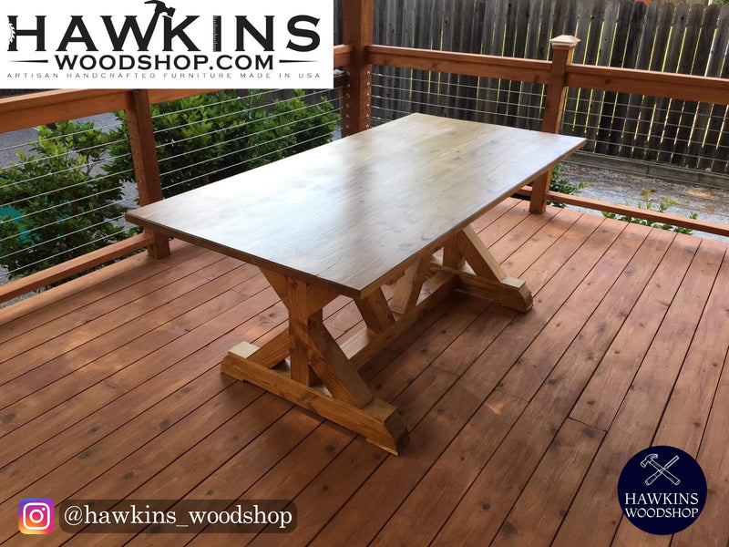 Shop hawkinswoodshop.com for discounted solid wood & metal modern, traditional, contemporary, custom & farmhouse furniture including our Fancy X Rustic Farmhouse Dining Table.  Ask about our free delivery & assembly collections today!