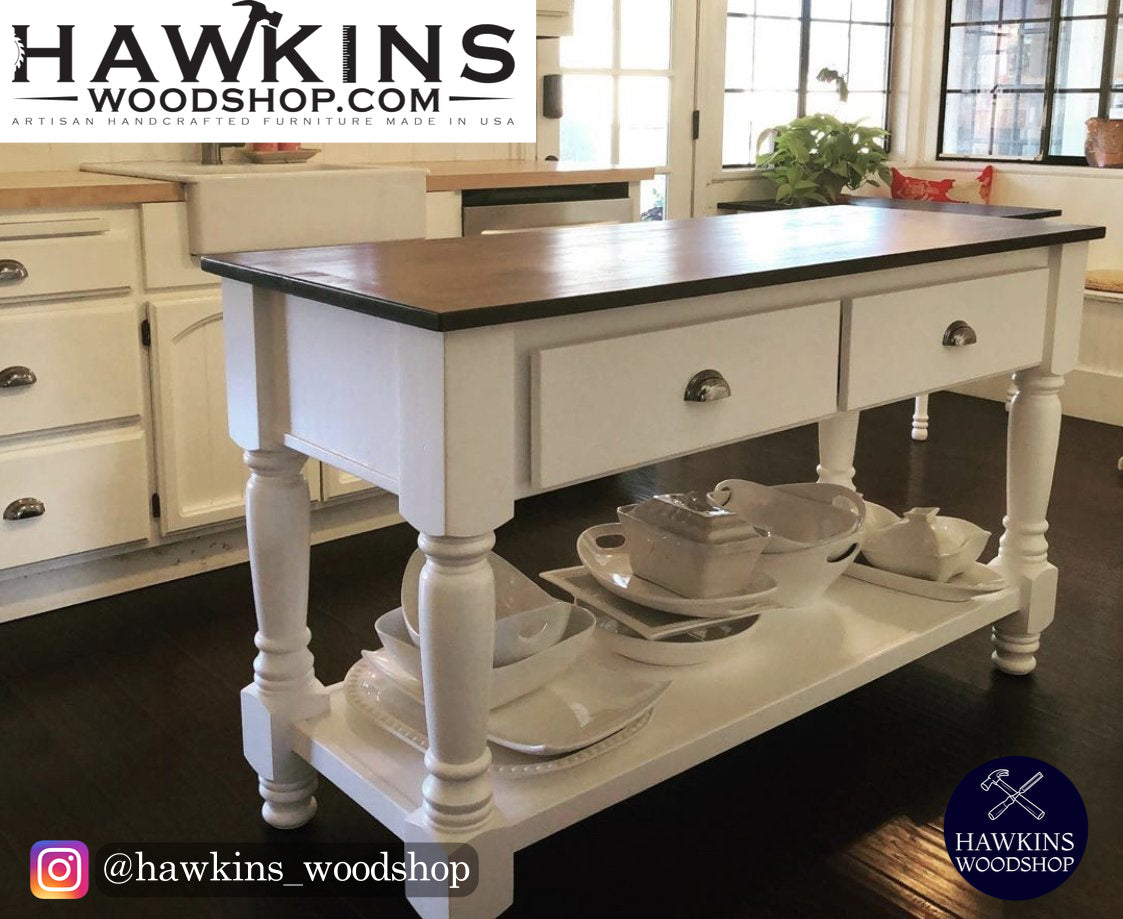 "Shop hawkinswoodshop.com for discounted solid wood & metal modern, traditional, contemporary, custom & farmhouse furniture including our Custom Turned-Leg Kitchen Island - Choose your Own Length x 36"" W x 36"" H. Ask about our free nationwide freight delivery or assembly services today."