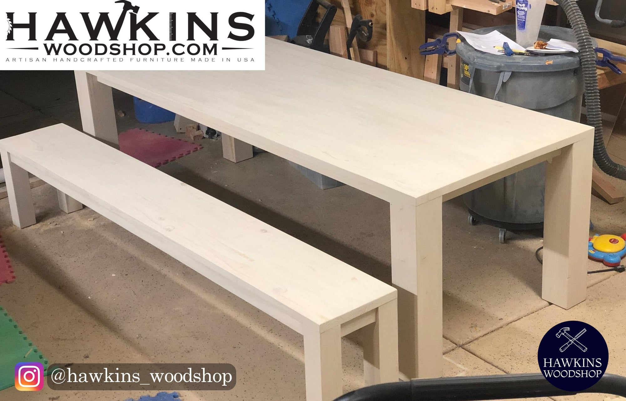 "Shop hawkinswoodshop.com for discounted solid wood & metal modern, traditional, contemporary, custom & farmhouse furniture including our Modern Farmhouse Rustic Dining Table - Choose Own Length x 38"" W x 30"" H.  Ask about our free delivery & assembly collections today!"