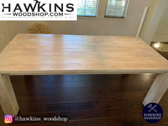 "Shop hawkinswoodshop.com for discounted solid wood & metal modern, traditional, contemporary, custom & farmhouse furniture including our Modern Custom Built-to-Order Farmhouse Dining Table - Choose Own Length x 38"" W x 30"" H. Ask about our free nationwide freight delivery and low cost assembly services."