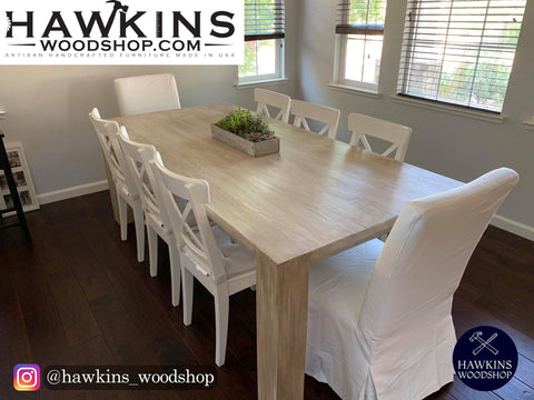"Shop hawkinswoodshop.com for discounted solid wood & metal modern, traditional, contemporary, industrial, custom & farmhouse furniture including our Modern Custom Built-to-Order Farmhouse Dining Table - Choose Own Length x 38"" W x 30"" H.  Ask about our free nationwide freight delivery and low cost assembly services."